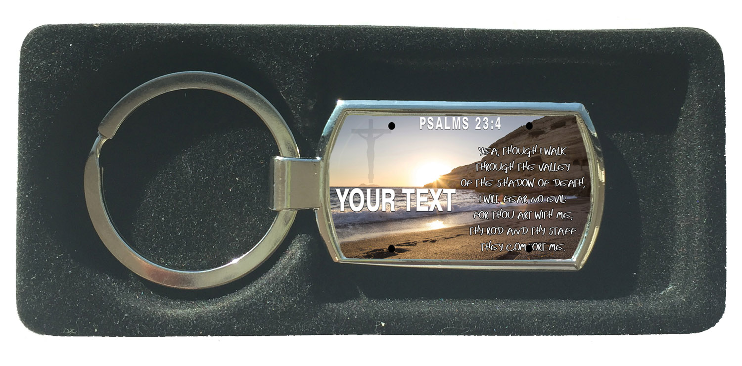 Custom Bible Comfort Verse Psalms 23-4 License Plate Rectangle Metal Keychain